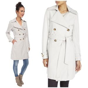 DKNY Button Up Double Breasted Trench Coat Grey XL